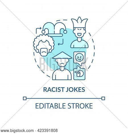 Racist Jokes Concept Icon. Racism In Social Situation Abstract Idea Thin Line Illustration. Derogato