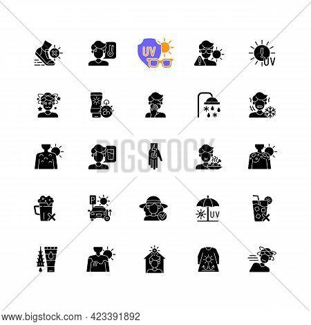 Sunburn And Sunstroke Prevention Black Glyph Icons Set On White Space. Heatstroke Symptoms. Sunblock