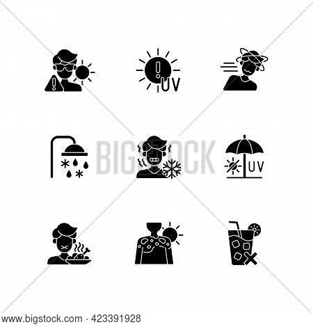 Heatstroke Risk During Summer Black Glyph Icons Set On White Space. Sunburn On Skin. Uv Rays Exposur