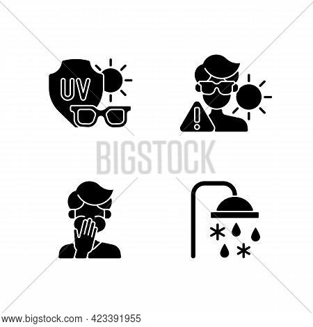 Uv Rays Exposure Risk Black Glyph Icons Set On White Space. Sunglasses To Protect Eyes From Sunlight