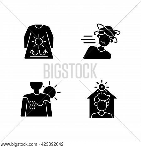 Sunstroke Risk During Summer Black Glyph Icons Set On White Space. Long Sleeves And Loose Clothing.