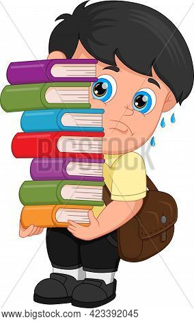 Cartoon Boy Carrying A Lot Of Books On White Background
