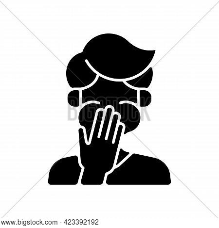 Nausea Black Glyph Icon. Sick Person Covering Mouth. Ill Man With Stomachache Ready To Throw Up. Hea