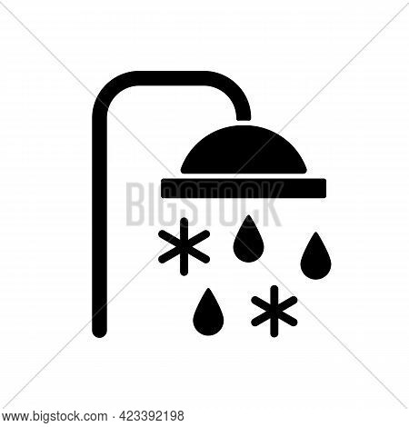 Taking Cold Bath Or Shower Black Glyph Icon. Cooling Water In Bathroom. Flowing Liquid From Faucet.