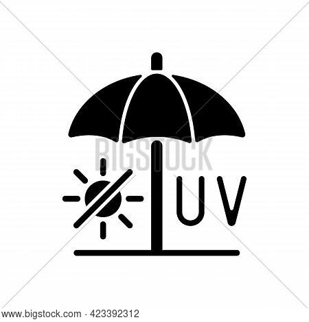 Seek Shade Black Glyph Icon. Hide Under Umbrella While On Beach During Summer. Uv Rays Protection To