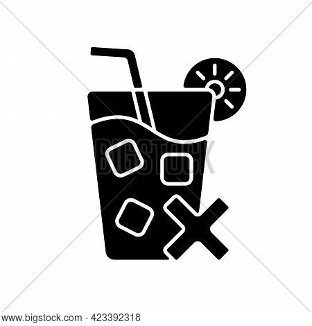 No Cold Drinks Black Glyph Icon. Avoid Iced Drinks During Summer Heat. No Chilled Beverage. Sunstrok