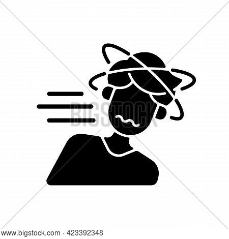Fainting Black Glyph Icon. Man Losing Consciousness From Sunstroke. Head Spinning As Heatstroke Symp