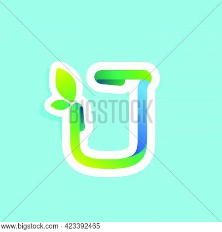 J Letter Flow Line Eco Logo With Green Leaves. Vector Green Icon Perfect To Use In Your Agriculture