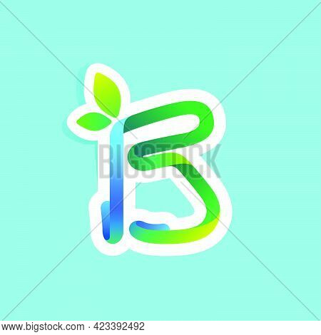 B Letter Flow Line Eco Logo With Green Leaves. Vector Green Icon Perfect To Use In Your Agriculture