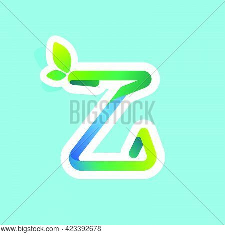 Z Letter Flow Line Eco Logo With Green Leaves. Vector Green Icon Perfect To Use In Your Agriculture