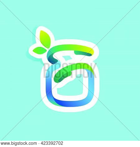 Number Six Flow Line Eco Logo With Green Leaves. Vector Green Icon Perfect To Use In Your Agricultur