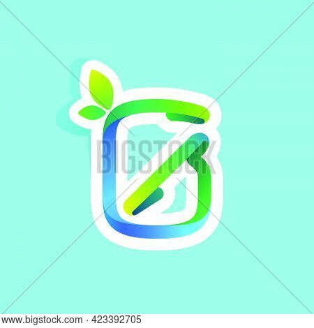 Number Zero Flow Line Eco Logo With Green Leaves. Vector Green Icon Perfect To Use In Your Agricultu