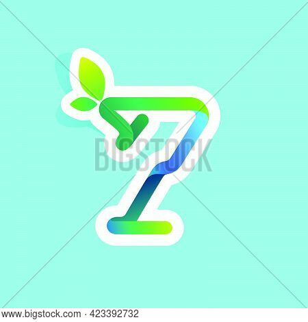 Number Seven Flow Line Eco Logo With Green Leaves. Vector Green Icon Perfect To Use In Your Agricult
