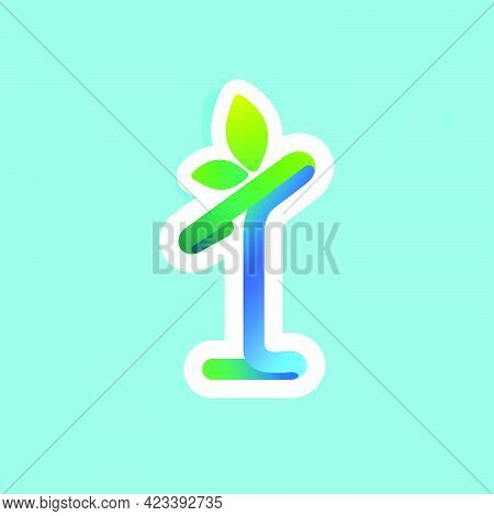Number One Flow Line Eco Logo With Green Leaves. Vector Green Icon Perfect To Use In Your Agricultur