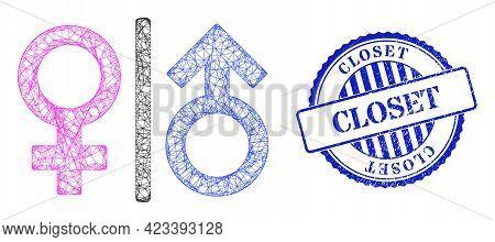 Vector Net Toilet Gender Symbol Frame, And Closet Blue Rosette Textured Stamp. Wire Frame Network Im