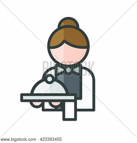 Female Waiter Avatar. Restaurant Services Character. Profile User, Person, People Icon. Isolated Vec