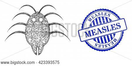 Vector Net Parasite Carcass, And Measles Blue Rosette Scratched Seal Imitation. Wire Carcass Net Sym