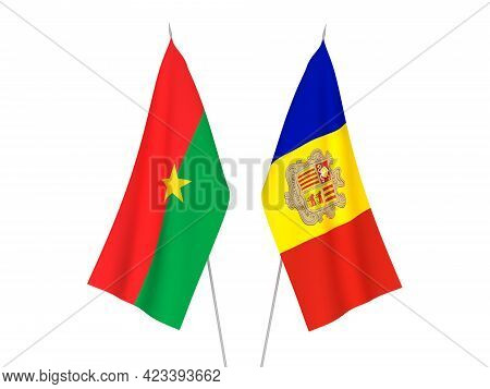 National Fabric Flags Of Andorra And Burkina Faso Isolated On White Background. 3d Rendering Illustr