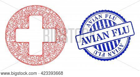 Vector Network Medicine Framework, And Avian Flu Blue Rosette Corroded Stamp. Wire Frame Network Sym