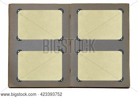 Open Old Photo Album Isolated On White Background. Album Pages With Empty Yellowed Photo Paper Fixed