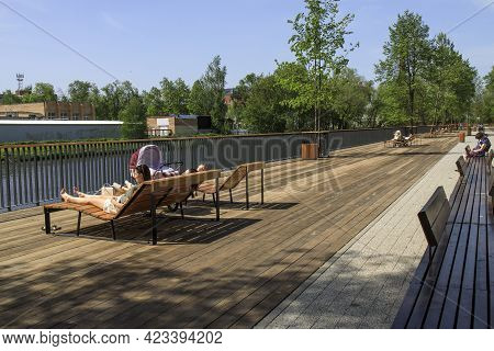 Yegoryevsk, Moscow Region, Russia - 19 May, 2021, A Modern Embankment Equipped With Sun Loungers In