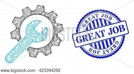 Vector Net Mesh Service Wheel Model, And Great Job Blue Rosette Textured Seal. Linear Frame Net Imag