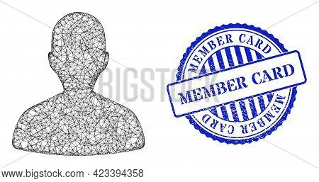 Vector Net Person Profile Frame, And Member Card Blue Rosette Grunge Seal Print. Linear Frame Net Il