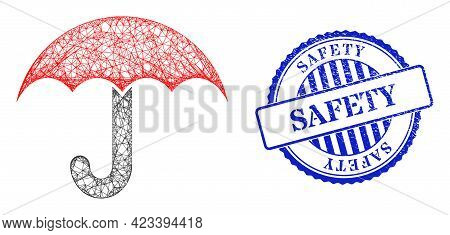 Vector Net Mesh Umbrella Wireframe, And Safety Blue Rosette Rubber Stamp Seal. Crossed Frame Net Ima