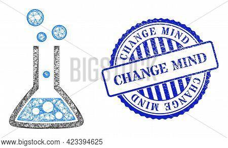 Vector Net Reaction Flask Carcass, And Change Mind Blue Rosette Unclean Watermark. Linear Carcass Ne