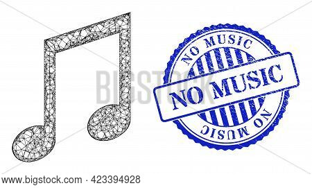 Vector Net Music Notes Wireframe, And No Music Blue Rosette Unclean Seal Imitation. Crossed Frame Ne