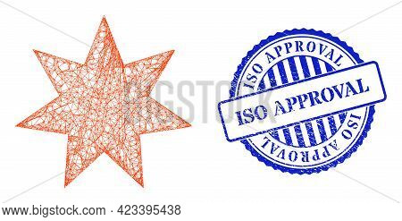 Vector Network Seven Pointed Star Carcass, And Iso Approval Blue Rosette Dirty Watermark. Linear Car
