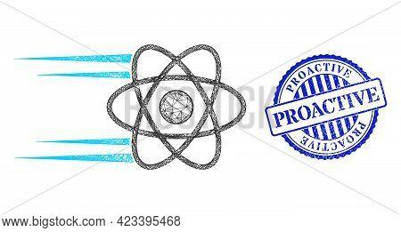Vector Net Rush Atom Carcass, And Proactive Blue Rosette Dirty Seal. Hatched Carcass Net Illustratio