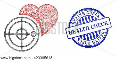 Vector Crossing Mesh Love Heart Radar Wireframe, And Health Check Blue Rosette Textured Badge. Wire