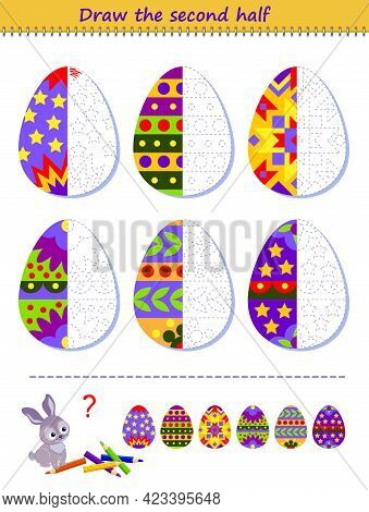 Educational Page For Little Children. Logic Puzzle Game. Draw The Second Half Of Easter Eggs By Exam