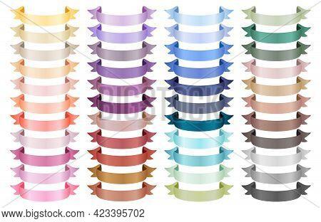 Set Of Various Satin Ribbons. Ribbon Elements. Flag Shape Banner. Decorative Elements. Ribbon Curved