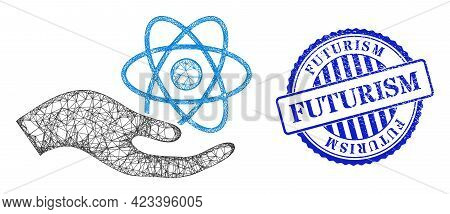 Vector Net Mesh Quantum Service Hand Framework, And Futurism Blue Rosette Corroded Stamp Seal. Hatch