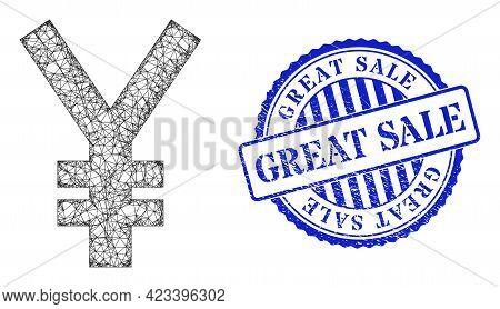 Vector Net Yen Symbol Framework, And Great Sale Blue Rosette Corroded Stamp Seal. Linear Carcass Net