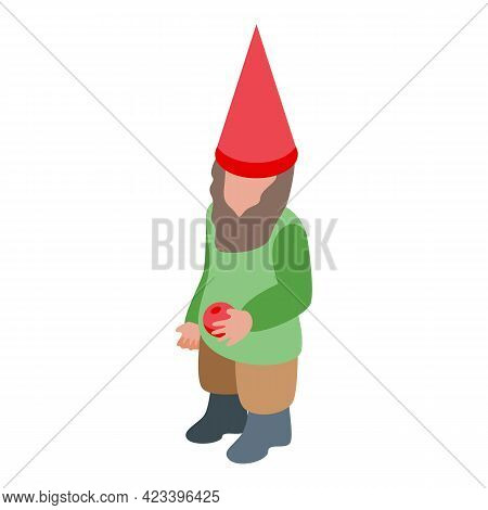 Gnome With Apple Icon. Isometric Of Gnome With Apple Vector Icon For Web Design Isolated On White Ba