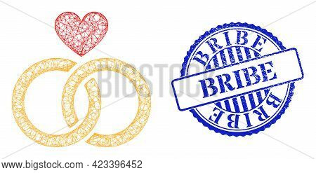 Vector Crossing Mesh Romantic Rings Framework, And Bribe Blue Rosette Rubber Stamp Seal. Wire Carcas
