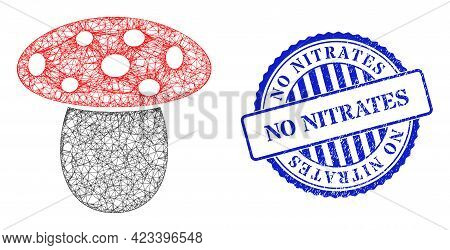 Vector Network Mushroom Wireframe, And No Nitrates Blue Rosette Corroded Seal. Crossed Carcass Netwo