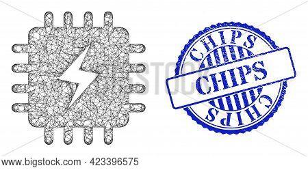 Vector Network Power Chip Frame, And Chips Blue Rosette Grunge Stamp Seal. Linear Frame Network Symb