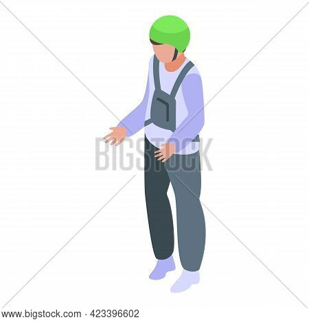 Man In Parachute Gear Icon. Isometric Of Man In Parachute Gear Vector Icon For Web Design Isolated O