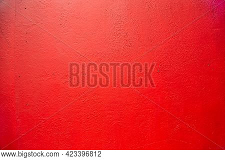 Red Wall. Old House Facade Wall Painted In Red. Old English House Facade
