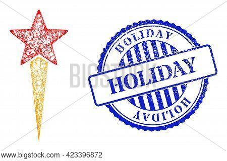 Vector Crossing Mesh Star Start Frame, And Holiday Blue Rosette Unclean Stamp Seal. Hatched Frame Ne