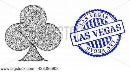 Vector Net Playing Card Club Suit Frame, And Las Vegas Blue Rosette Scratched Seal. Crossed Frame Ne