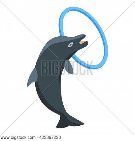 Dolphin With Ring Icon. Isometric Of Dolphin With Ring Vector Icon For Web Design Isolated On White