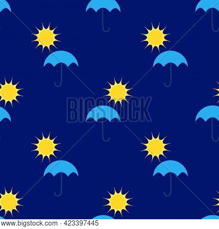 Umbrellas And Clouds On Blue Seamless Pattern. Silhouette Umbrella And Rain On Blue Background.templ