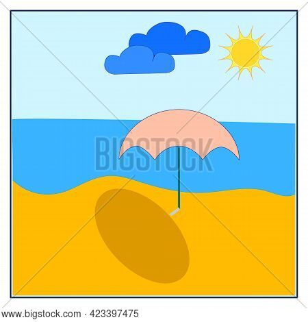 Sea, Beach, Sun And Clouds On A White Background Card. Template For T, Apparel, Card, Poster, Etc. D