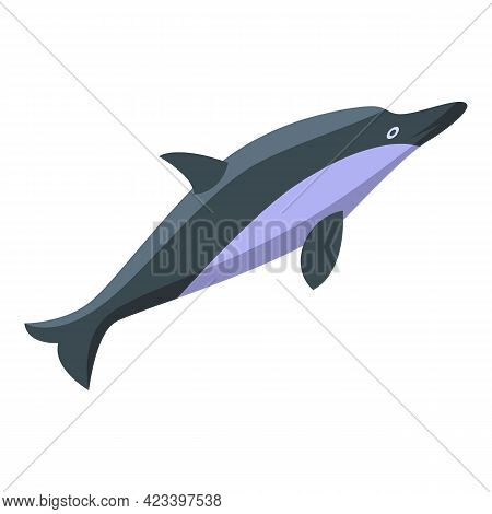 Ocean Dolphin Icon. Isometric Of Ocean Dolphin Vector Icon For Web Design Isolated On White Backgrou