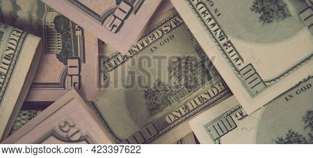 Financial Background Of Mess Us Dollar Paper Cash Banknotes. Banner Flat Lay Of Fifty Dollar And One